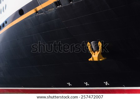 Anchor and hull detail from a ocean liner - stock photo