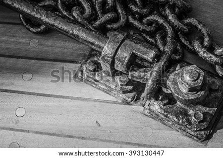 Anchor circuit on a deck of an old yacht - stock photo