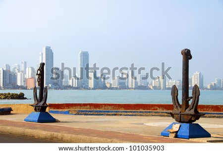 anchor sculpture harbor of Cartagena Colombia South America  view Bocagrande beach resort - stock photo