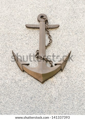 Anchor with chain symbol on background. - stock photo