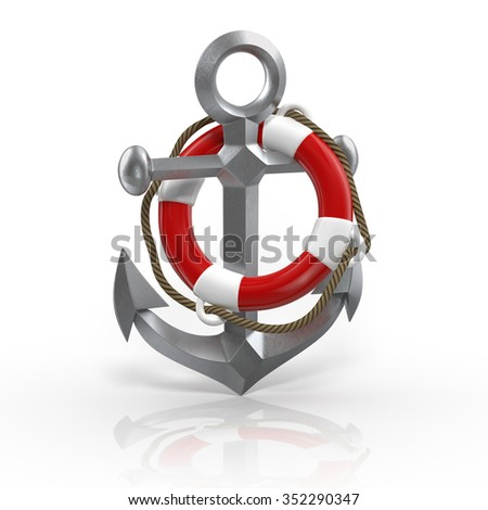 anchor with red life buoy on a white background - stock photo