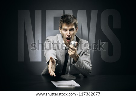 Anchorman screams and gestures news - stock photo