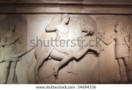 Ancient Alexander's Sarcophagus Detail, Istanbul. - stock photo