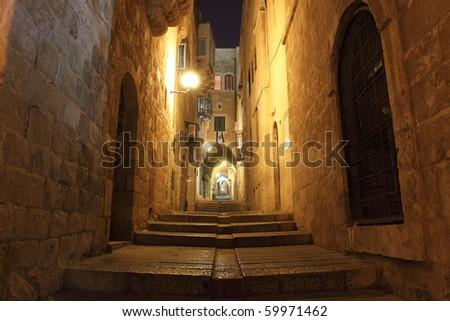Ancient Alley in Jewish Quarter, Jerusalem - stock photo