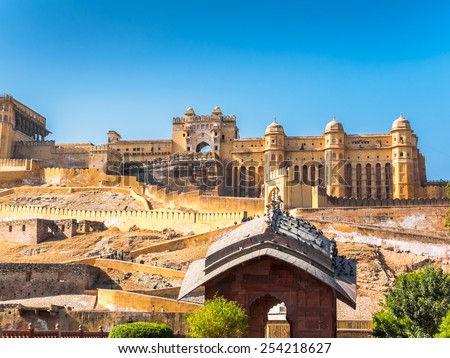 Ancient Amber Fort in Jaipur, Rajasthan, India - stock photo