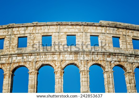 Ancient amphitheater in Pula, Croatia - stock photo