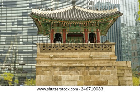 Ancient and modern architecture in Seoul, South Korea - stock photo
