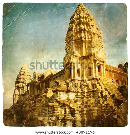 ancient Angkor temple -  artistic toned picture in retro style - stock photo