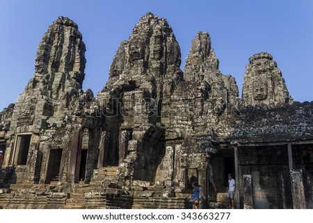 Ancient Angkor Wat Temple in Siem Reap, Cambodia - stock photo