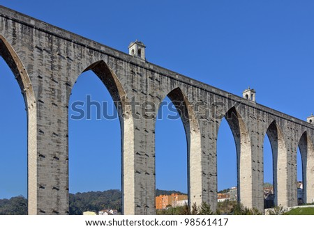 Ancient aqueduct in the Lisbon built in the18th century, Portugal - stock photo