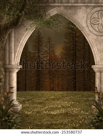 Ancient arc in the middle of the forest - stock photo