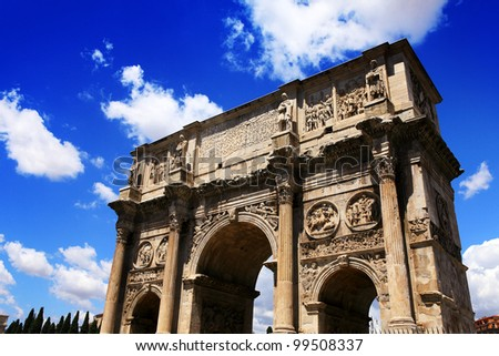 ancient Arch of Constantine in Rome - stock photo