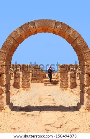 Ancient arch to the sea. Caesarea, Mediterranean sea, Israel  - stock photo