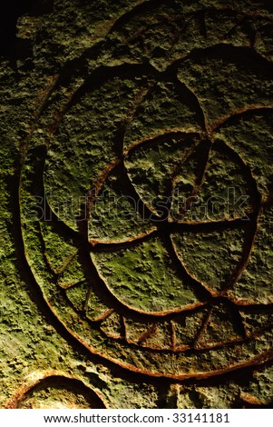 Ancient archeology with mystical inscriptions found in a tomb in northern israel - stock photo
