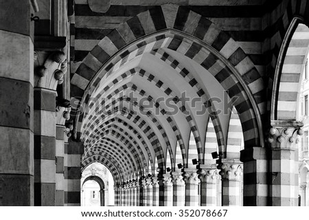 ancient architecture gallery in Genoa - stock photo