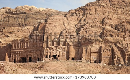 Ancient architecture in the rock. Travel on the territory of the ancient city of Petra, Jordan. 01.01.2014. - stock photo
