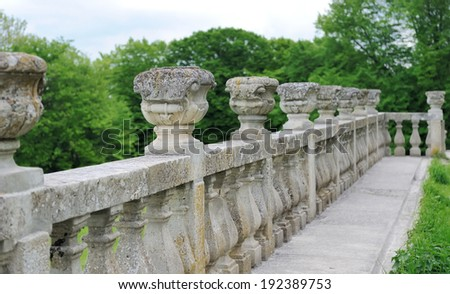 Ancient architecture of ancient railings. Old castle railings - stock photo
