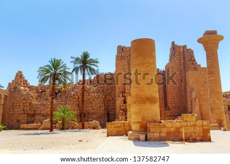 Ancient architecture of Karnak temple in Luxor, Egypt - stock photo