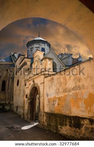 Ancient Armenian church  in Lvov. Ukraine - stock photo