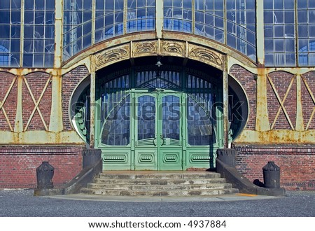 Ancient art nouveau of an old coal mine in Germany - stock photo