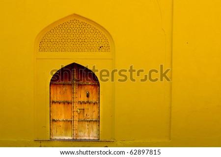 ancient art work door in India - stock photo