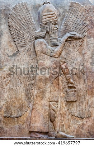 Ancient Babylonia and Assyria sculpture painting from Mesopotamia - stock photo
