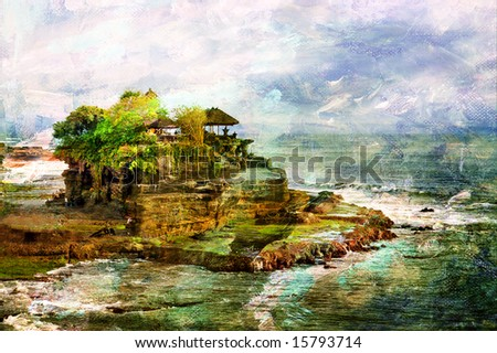 ancient balinese temple - picture in painting style - stock photo
