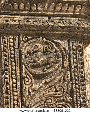 ancient bas-relief with mythical creature on the facade of ancient temple in Bagan(Pagan), Myanmar(Burma)  - stock photo