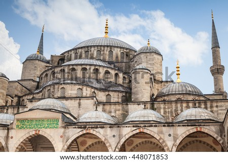 Ancient Blue Mosque or Sultan Ahmed Mosque, it is a historic mosque located in Istanbul, Turkey, one of the most popular city landmarks. It was built between 1609 and 1616 - stock photo