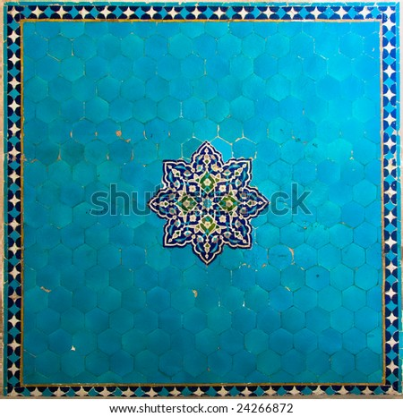 ancient blue tiles - stock photo