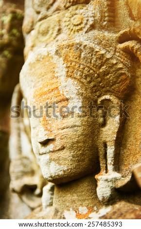 Ancient Buddha face, Ayutthaya, Thailand - stock photo