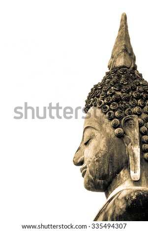 Ancient Buddha face statue in Sukhothai Historical Park of Thailand isolated on white background - stock photo