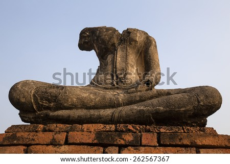 Ancient Buddha image at Ayuthaya, Thailand in the morning - stock photo