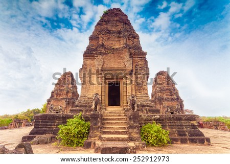 Ancient buddhist khmer temple in Angkor Wat, Cambodia. Pre Rup Prasat - stock photo