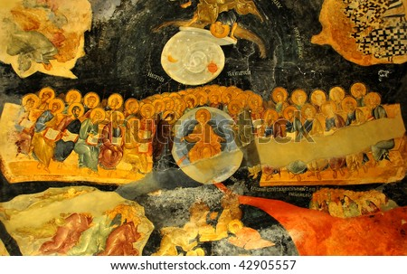 ancient byzantine fresco of the last judgement showing Jesus christ flanked by the virgin mary and john the baptist from the church of saint chora - stock photo