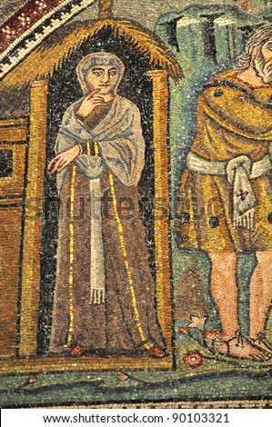 Ancient Byzantine mosaic of Sarah the wife of Abraham looking uncertain about mysterious visitors, from the Old Testament. From the UNESCO listed basilica of Saint Vitalis, in Ravenna, Italy - stock photo