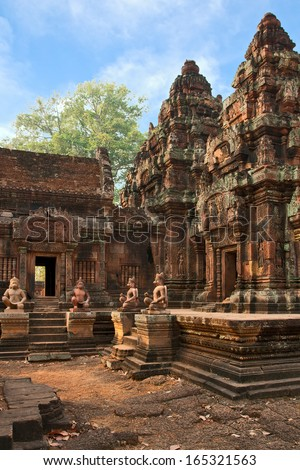 Ancient Cambodian temple Banteay Srei, the 2nd half of the 10th century - stock photo