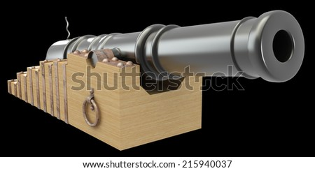 Ancient cannon on wheels. isolated black background. 3d - stock photo