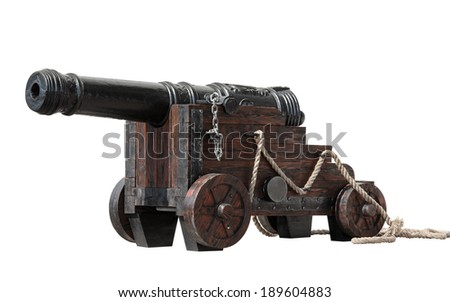 Ancient cannon with wheels isolated on white - stock photo