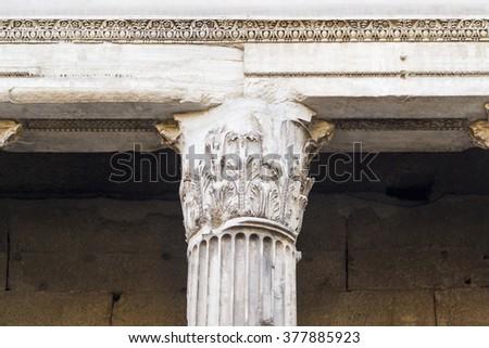 ancient capital pantheon rome - stock photo