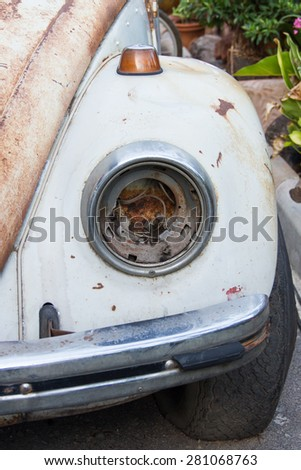 Ancient car headlight are damaged - stock photo