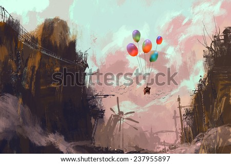 ancient car in a sky with balloons over a destroyed city,digital painting - stock photo
