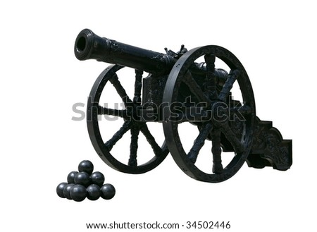Ancient cast iron cannon on wheels isolated on white background - stock photo