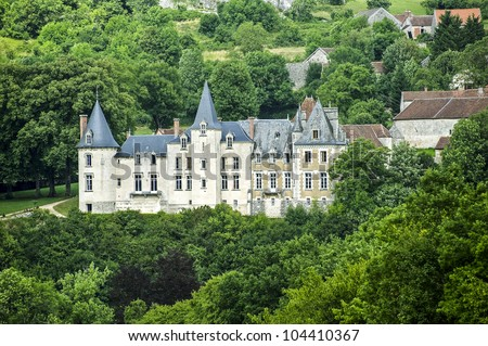 Ancient castle in Cote-d'Or (Burgundy, France) at summer - stock photo