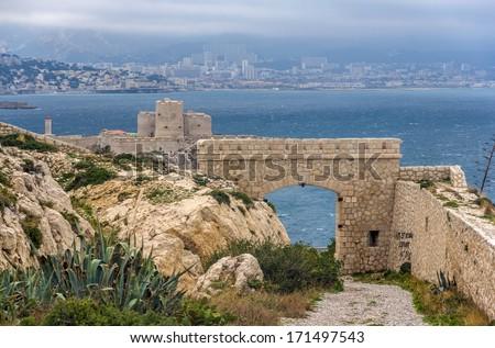 Ancient castle on Frioul island near Marseille, France - stock photo