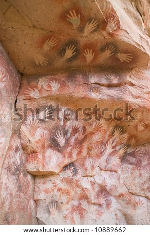 Ancient cave paintings in Patagonia, Argentina. - stock photo