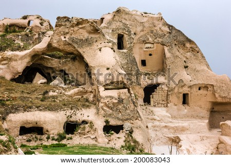 Ancient cave town in Goreme, Cappadocia, Turkey - stock photo