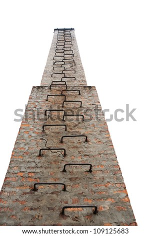 Ancient chimney with a ladder upwards isolated on white - stock photo