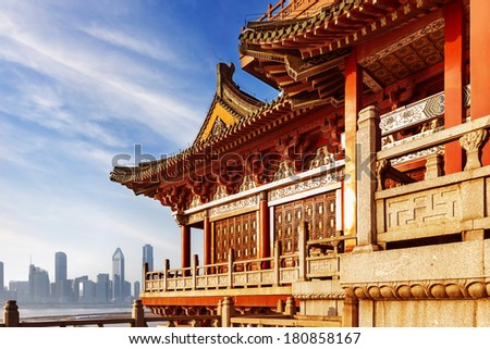 ancient Chinese architecture - stock photo