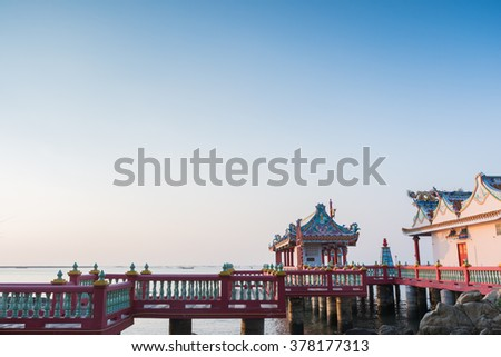 ancient Chinese architecture on offshore - stock photo